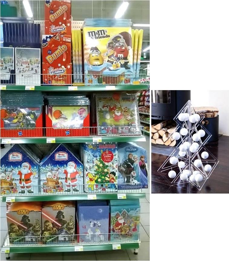 【写真左】大型スーパーの店頭を飾るヨウルカレンテリ 【写真右】アクリル製のツリーに白いボールを1日から飾り始めて24日で完成する大人用のヨウルカレンテリ。