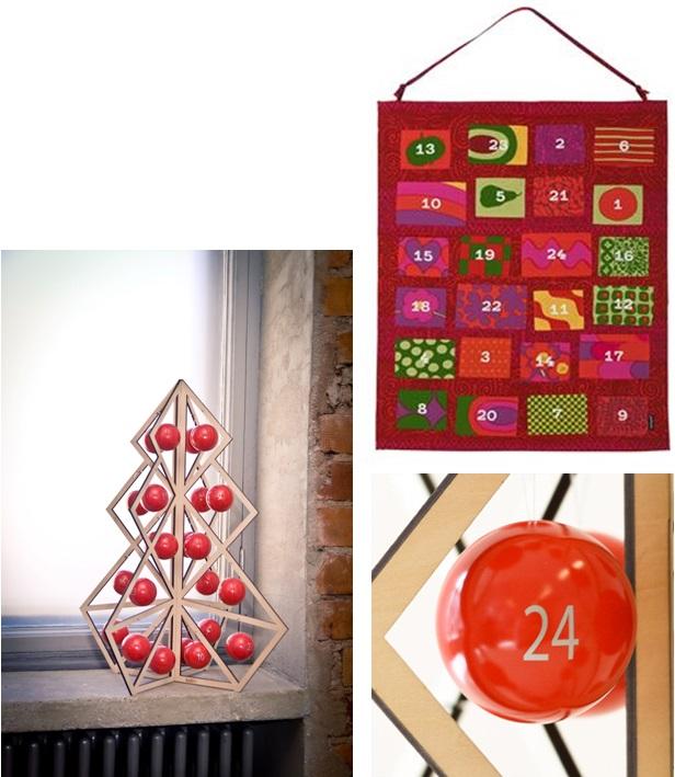 【写真左】marimekkoのヨウルカレンテリ。色違いで青を基調としたものもあります。フィンランドの伝統をデザイン化した傑作です。 【写真左下】赤いボールを飾る、木製のバージョンの大人用のヨウルカレンテリもあります。 【写真右下】ご馳走のテーブルを囲んで、サンタさんからのプレゼントも届く24日。フィンランドのクリスマスはイブにクライマックスを迎えます。