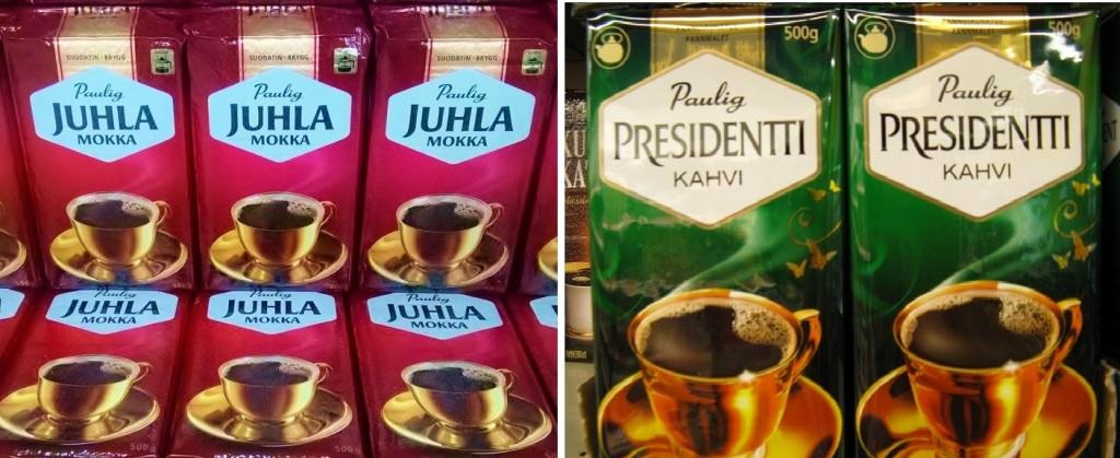 左:パウリグ社の「ユフラモッカ」はフィンランドを代表する人気銘柄 右:「ユフラモッカ」と張り合う、同じくパウリグ社の「プレジデンティ」