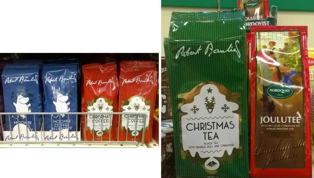 左:ロバーツカフェの「ムーミンウィンターコーヒー」(左)と「クリスマスコーヒー」(右) 右:ロバーツカフェの「クリスマスティー」(左)とムーミン紅茶で有名なNORDQVIST社の「ヨウルテー」(右)