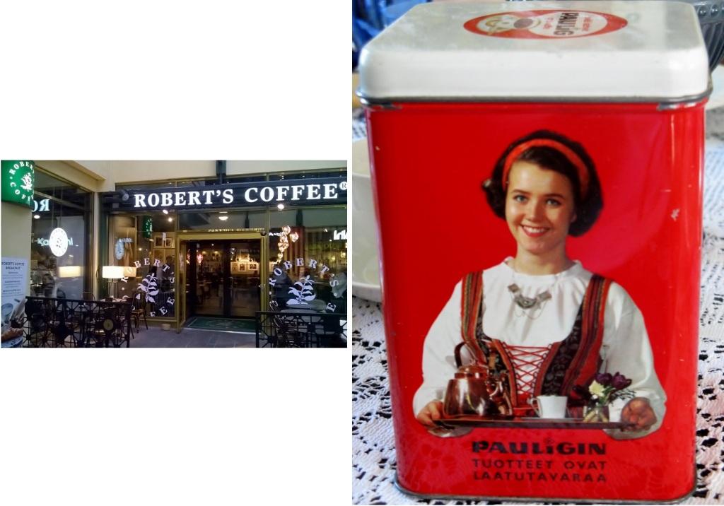 左:ヘルシンキのシティーセンター内にあるロバーツカフェ。フィンランドのスターバックス的存在 右:コレクターも多いパウリグ社のレトロなコーヒー缶。こんなアイテムからもフィンランド人のコーヒーに対する思い入れが垣間見られる