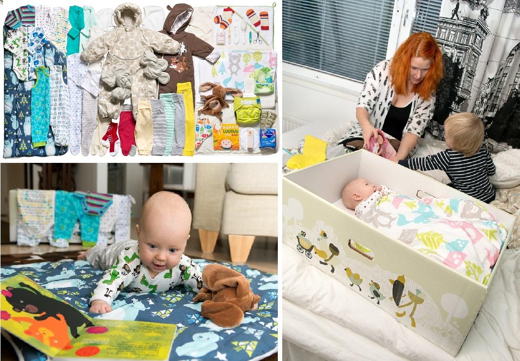 【左上】中身は生後1年分までの産着や防寒服、ガラガラや絵本に避妊具まで、新生児を迎える家族をサポートするグッズが50点近くも入っています(撮影:Annika Söderblom 提供:Finland Promotion Board) 【左下】「これさえあれば、あとは赤ちゃんが生まれてくるだけ」と言われているアイティウスパッカウス(撮影:Annika Söderblom 提供:Finland Promotion Board) 【右】箱の底に同梱のマットとシーツを敷けば、小型ベビーベッドに早変わり。次男もそうでしたが、狭いところが嫌いな赤ちゃんには不向きなようです(撮影:Annika Söderblom 提供:Finland Promotion Board)