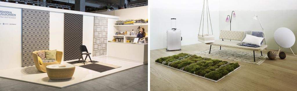 左:日本でも有名なテキスタイル・ブランド「ヨハンナ・グリクセン」のブース(Messukeskus / Habitare2015) 右:近年のハビターレでは、インテリアにより素敵に快適に緑を取り入れるアイディアが多くみられます(Messukeskus / Habitare2015)