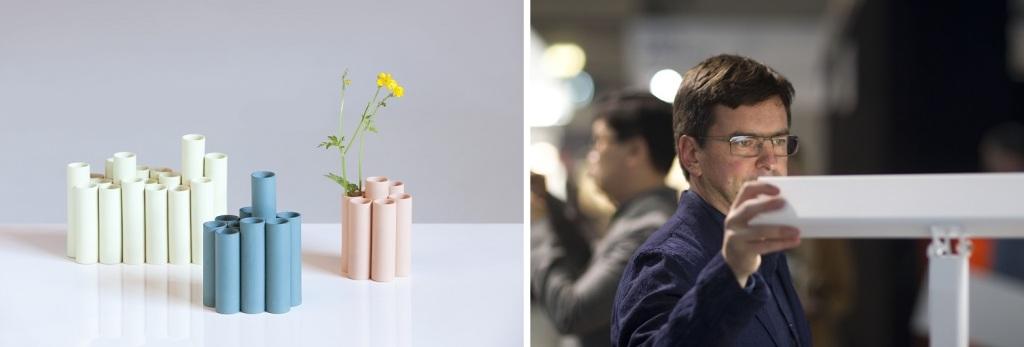 左:今年の「プロトショップ」に出展される「シリンダー(Cylinder)という作品(Messukeskus / Habitare2016) 右:昨年はあの、ハッリ・コスキネンも会場に来ていた模様。一昨年はエエロ・アアルニオもぶらぶら歩いていました。有名デザイナーも気軽に出入りするイベントです(Messukeskus / Habitare2015)