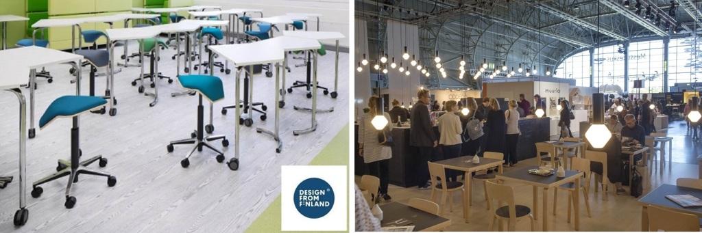 左「デザイン・フロム・フィンランド」のコーナーで話題の「イロア・ワン(ILOA One)」。フィンランドの学校で使われている、姿勢が正しく座れるデザイン・チェア(提供:myKolme Design) 右:おしゃれなカフェやレストランで、ちょっと一息つくのもまた楽し(Messukeskus / Habitare2015)
