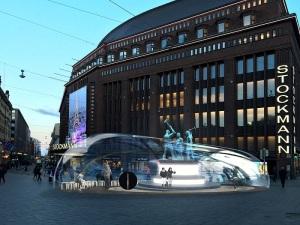 今年はストックマン前の街のシンボル「三人の鍛冶屋像」が、このような近未来的なデザインで覆われてしまいます!(提供:HDW)