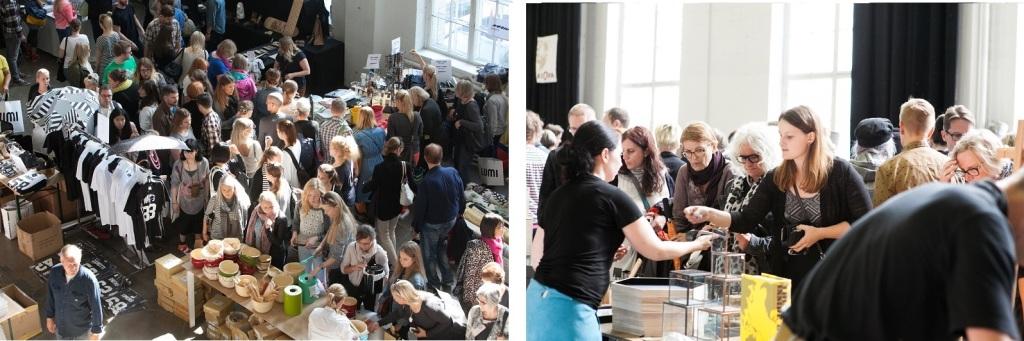 左:ヘルシンキ・デザインウィークの一番人気、「デザインマーケット」(@Aino Huovio HDW) 右:「デザインマーケット」には、ユニークなデザイン製品を求めて、人々が押しかけます(@Aino Huovio HDW)